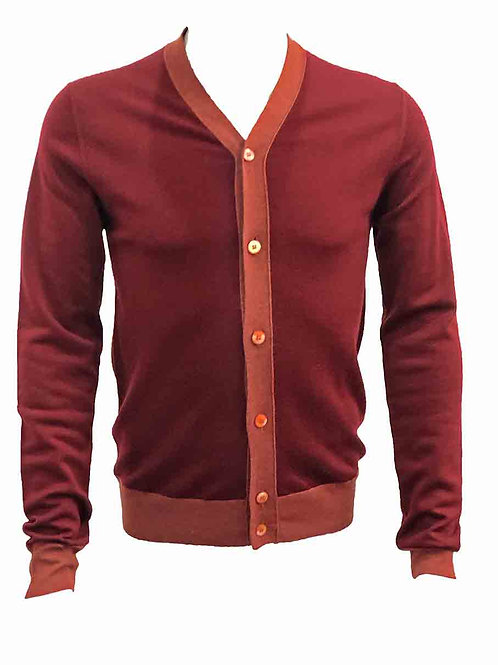 Teodori Burgundy with Red Trim Cardigan