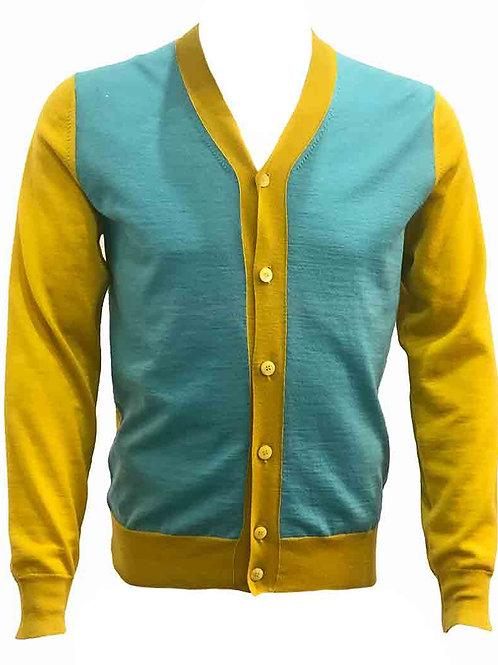 Teodori Aqua & Yellow Cardigan