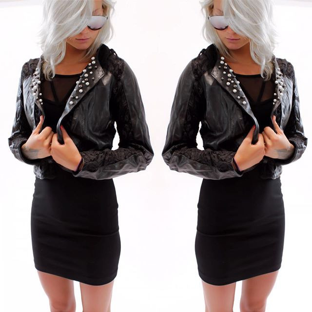 Coco Azzaro leather and lace jacket, Versace Jeans Dress