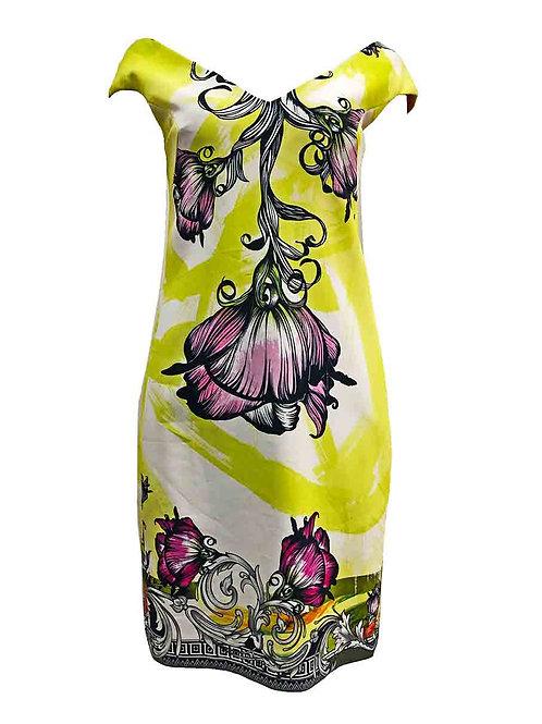 Versace V-Neck Floral Dress