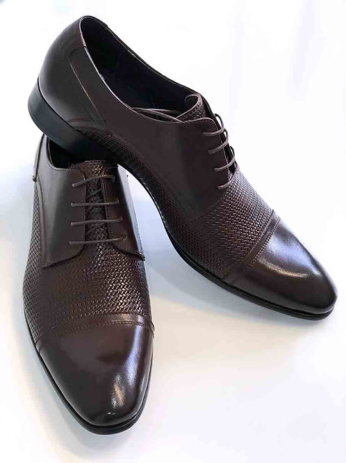 Lluis Embossed Brown Leather Shoes