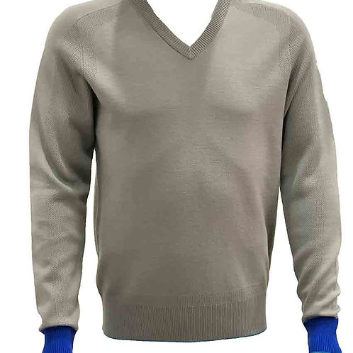 Soft Coffee with Blue Trim V-neck Pullover