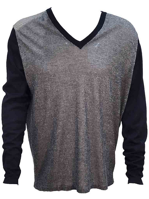 Teodori Navy/Grey V-neck Pullover