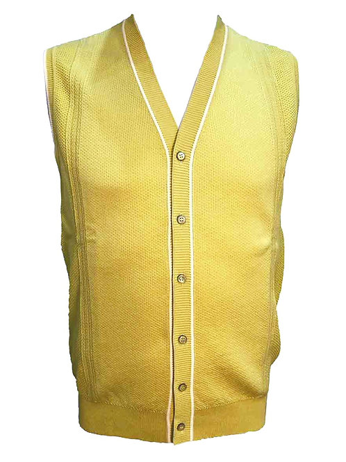 Teodori Button Up Vest Lemon