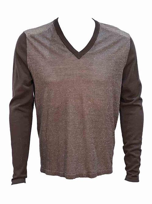 Teodori Tan/Brown V-neck Pullover