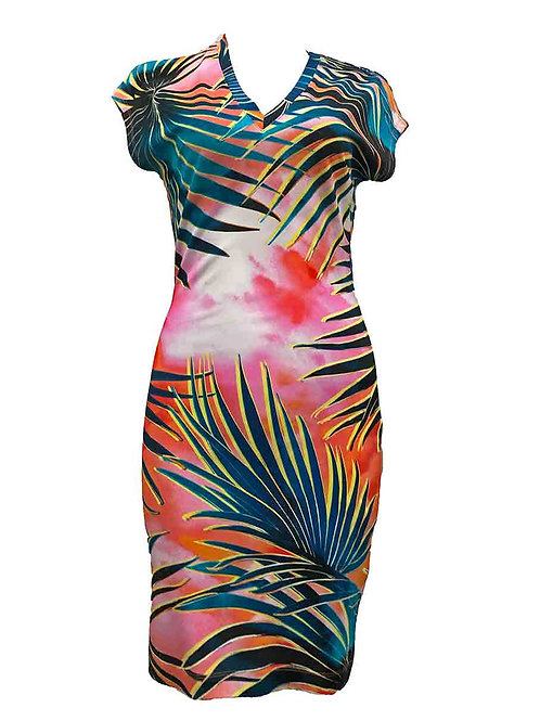 Just Cavalli Pink Palm Pattern Dress