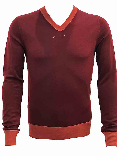 Teodori Burgundy with Red Trim V-neck Pullover