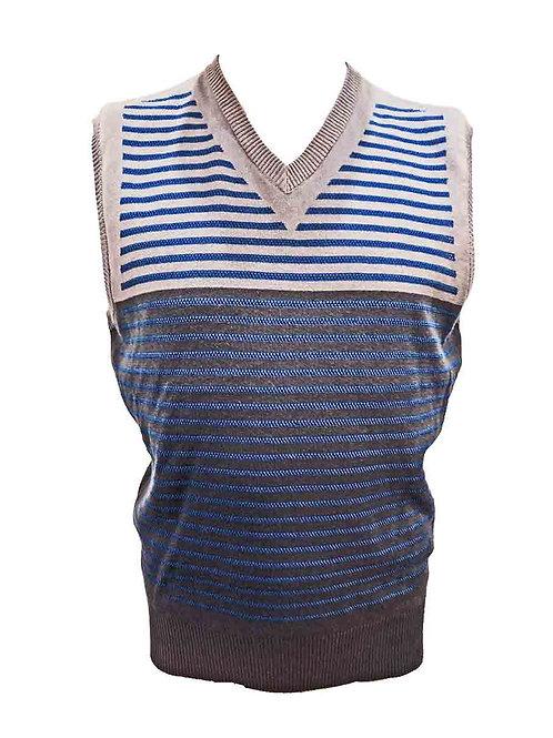 Teodori Vest Blue Beige Khaki Stripe