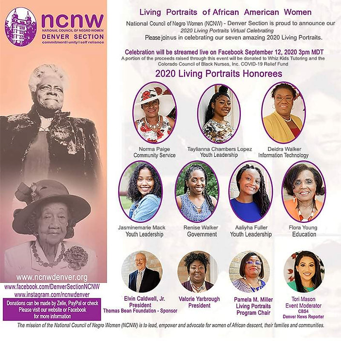 NCNW Living Portraits Online Event Flyer
