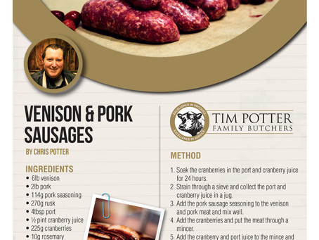 Chris Potter's Venison, Port, Cranberry & Rosemary Sausages