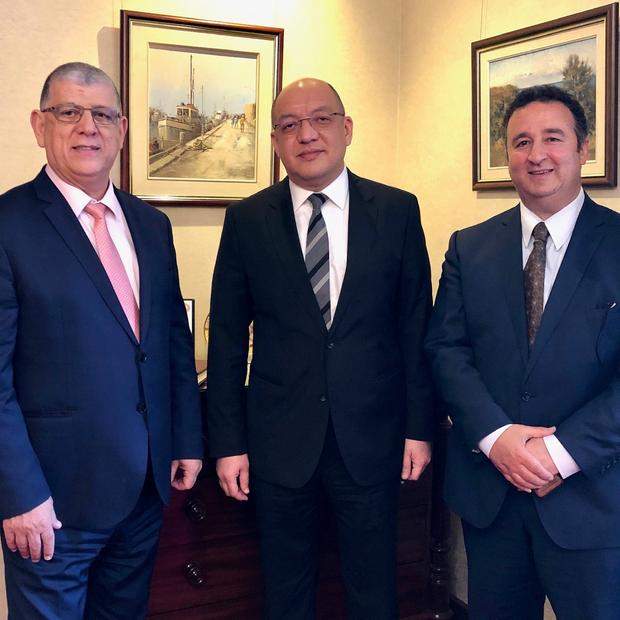 CG Ezzedin Tago (center) calls on NSW Legislative Council President Hon John Ajaka (left)
