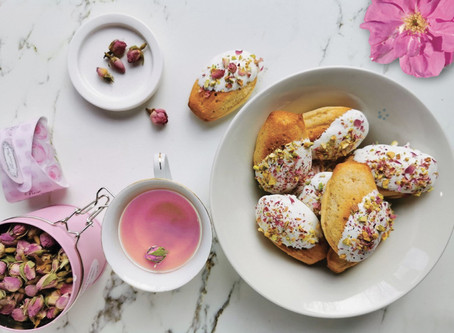 Madeleine with rose, pistachio and white chocolate