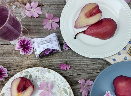 Poached Pear with Wild Mallow Tea