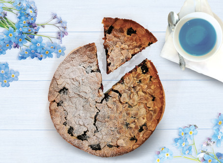 Forget-me-not & blackberry Clafoutis
