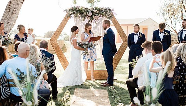 Hexagon Arbor Boho Ceremony