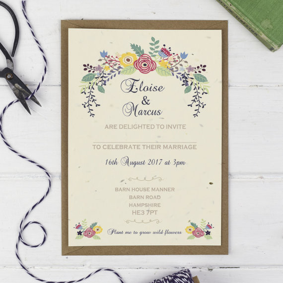 Seeded paper invite by TalkoftheTownPartyUK