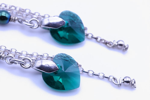 Swarovski Green Heart Dangle Earring
