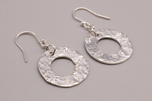 Hammered Silver Circle Earring