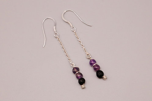 Purple-Black Lava Dangle Earring