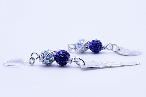 Miss Match Shamballa Blue and Clear Earring | KVD11041