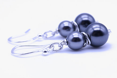 Black and dark grey double Swarovski crystal pearl earring
