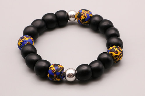 Black-Blue Beaded Bracelet
