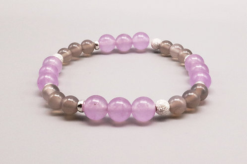 Grey - Pink Sterling Silver  Bracelet