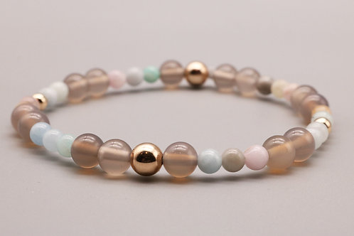Gold - Morganite Beaded Bracelet