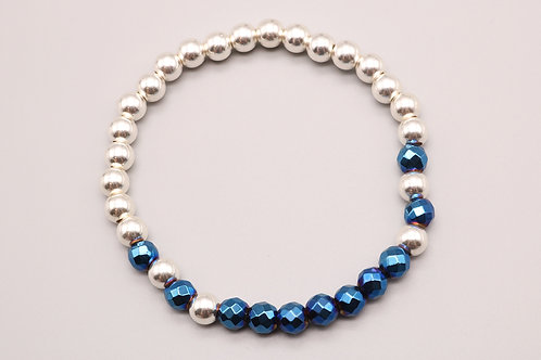 Blue and Silver Beaded Bracelet