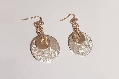 CT Gold and Sterling Silver Coin Earring | KVD11036