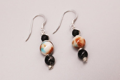 Black on White-Brown Beaded Earring