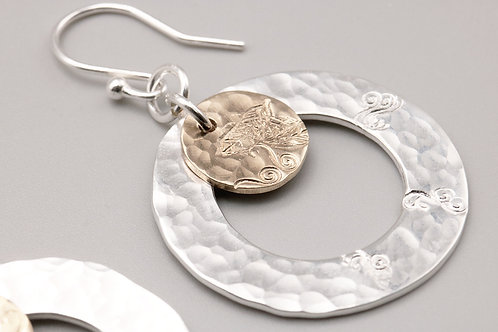 Sterling Silver - Gold leaf/ swirl patterned Earring