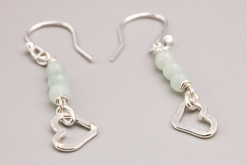 Sterling Silver Amazonite Earring with Heart
