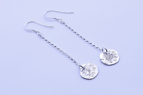 Light Sterling Silver Chain with Patterned Pendant   KVD11019