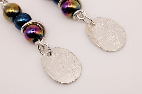 Circle meets circle beaded earring