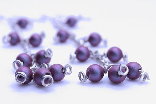 Dangle SwarovskiCrystal Iridescent Red Pearls