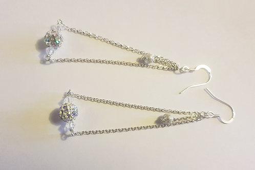Shamballa White Crystal Dangle Earring | KVD11028