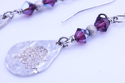 Swarovski Crystal with tear drop silver earring