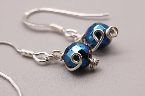 Sterling Silver Single Hematite Beaded Earrings