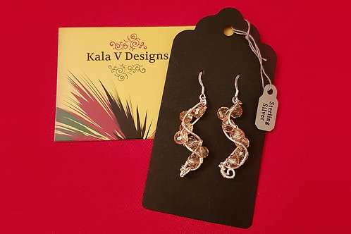 Spiral Beaded Silver Earring | KVD11012