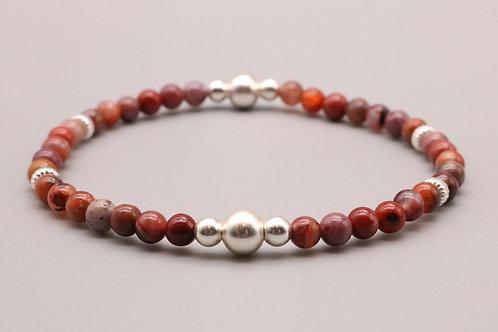 Red-Silver Bubble Beaded Bracelet