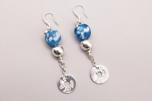 Blue-White- Silver Dangle