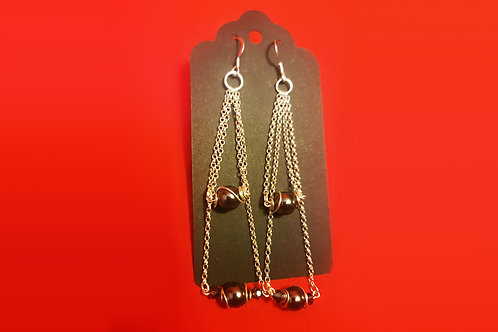 Swarovski Black Crystal Pearl Double Dangle Earring | KVD11021