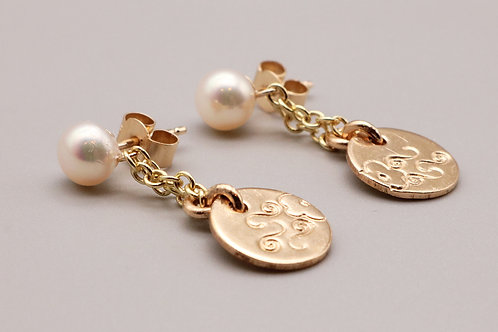 Gold and White Pearl Earring