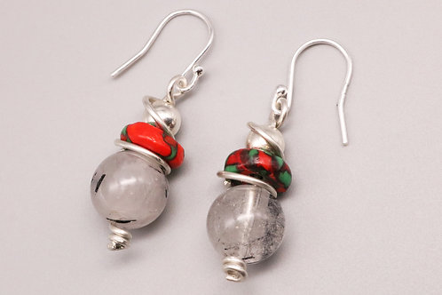Three rounds, Red-Green Earring