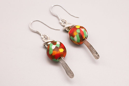 Multi- Coloured Silver Dangle Earring