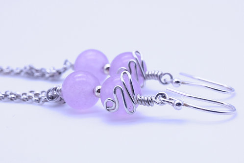 Dyed Lilac Jade Dangle Earring