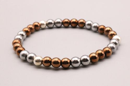 Silver-Bronze Beaded Bracelet