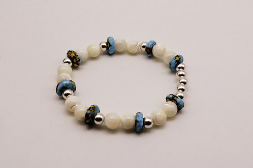 Blue/ Yellow/ Silver- Mother of pearl Bracelet