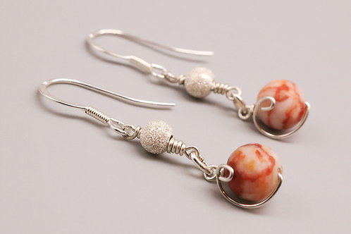 Orange-Beige Dangle Earring
